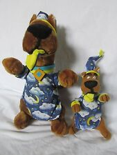 """NEW 14"""" AND 9"""" SCOOBY DOO DOG IN PAJAMAS WITH SLIPPER IN MOUTH STUFFED PLUSH"""