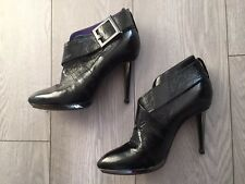 Sergio Rossi Women's Patent Leather High Heels Boots Black Colour, Size 7.5