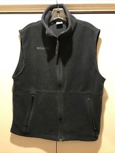 Columbia Mens Dark Blue Fleece Full Zip Vest Sz Medium