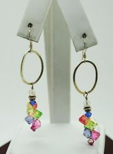STERLING SILVER OVAL SHAPE CUTOUT W/MULTI-COLORED BEADS CLUSTER EARRINGS#FMB807