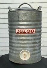 Vintage Galvanized Igloo Metal Water Cooler 5 Gallon Jug Distressed Silver USA