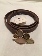 Anthropologie Leather Skinny Belt Brown Size M/M