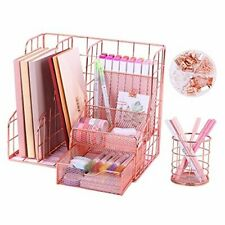 Rose Gold Desk Organizer With 6 Compartments Mesh Metal Home Office Supplies