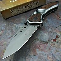 Rough Rider Assisted Open Brown Pakkawood Handle Folding EDC Pocket Knife NEW