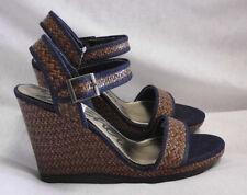 """Skechers Sandals Size 11 M NWT 5"""" Platform Straps Denim & Straw Open Toe $65"""