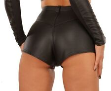 Leather Shorts in Classic Style - Hot Pants Black Size UK 12 EU 40 US 8-10