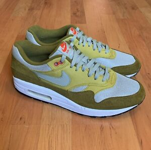 RARE Mens Nike Air Max 1 Premium Curry Pack Olive Green Gray Size 11 908366-300