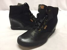 KEDS HALFPIPE: Shimmer Bar Leather Women's Wedge Boots, Black Suede Size 9 Wide