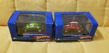 Lot of 2 Mini Hot Wheels VW Bug Green & Red White Stripe MINI 1:87 BRAND NEW!