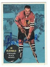 Autographed 1961-62 Topps AB MCDONALD Chicago Blackhawks Card #27 w/ ShowTicket
