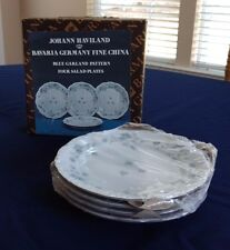 Johann Haviland Bavaria Germany Blue Garland Pattern China Salad Plates Set of 4