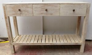 Console Table Teak Solid Wood White Pickled Industrial CMS 121x30x80h With Draw