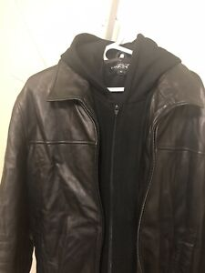 Black Rivet Mens Size XL Genuine Leather Jacket With Hood