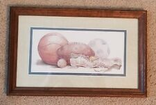 """Boys Room Wall Hanging w/ Wood Frame Featuring Sports.17"""" x 10.5"""""""