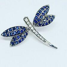 EFFY BH 14k White Gold Blue Sapphire Diamond Dragonfly Pin Brooch