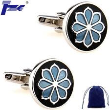 Fashion Cuff Links Blue Flower in Black Round Enamel Cufflinks With Velvet Bag