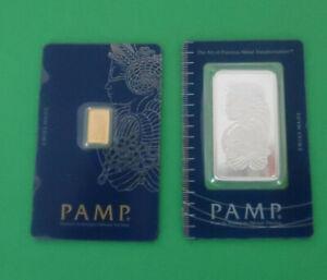2 Lot Pamp Suisse Fortuna Bullion Bar 1 oz .999 Fine Silver + 1  .9999 Gram Gold