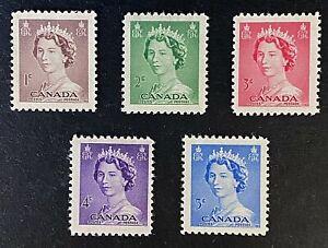 Canadian Stamp, Scott #325-9 - QEll 'Karsh Portrait' (1953) 1c to 5c VF to XF