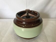 VINTAGE AONIAN TOBACCO JAR POTTERY BROWN & GREEN STONEWARE HUMIDOR