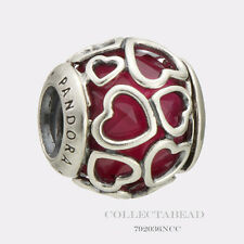 Authentic Pandora Silver  Encased in Love Cerise Crystal Bead 792036NCC