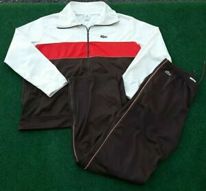 Lacoste Mens Tracksuit Tennis White Brown 9&6