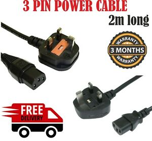 2X 2m IEC Kettle LEAD MAINS C13 UK 3 PIN POWER CABLE PLUG CORD PC MONITOR PRINT