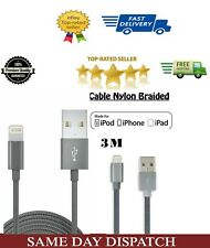 3m Apple Lightning Connector USB Cable for iPhone7/7plus-Nylon Braided – Grey