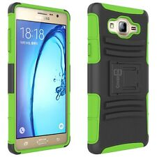 For Samsung Galaxy On7 Belt Clip Case Neon Green / Black Holster Hybrid Cover