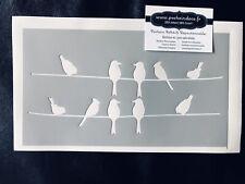 Pochoir Adhésif Réutilisable 25 x 15 Cm Oiseaux Hirondelles Sur Fils