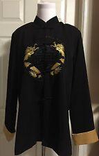 Mandarin Jacket  Embroidered Dragon 100% Silk Size Small