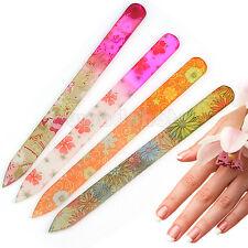 4 x Multicolor Lima Pulidor Uñas Cristal Vidrio Herramienta Kit para Manicura