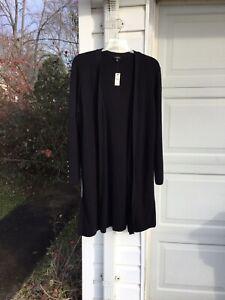 NWT Talbots Gorgeous Black Long Cardigan Sweater 3X 22W 24W