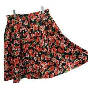Dorothy Perkins Flippy Floaty A-line Skirt Size 14 womens red poppy flower
