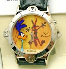Road Runner Wile E. Coyote Watch Looney Tunes Musical 36 mm Watch Vintage New