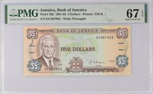 Jamaica 5 Dollars 1992 P 70 d Superb Gem UNC PMG 67 EPQ High