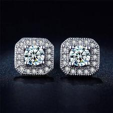 1Pair Fashion Women Silver Square Cubic Zirconia Rhinestone Ear Stud Earrings