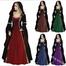 Medieval Vintage Costume Hood Gown Long Dress Halloween Women Renaissance Outfit