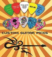 20 Custom Personalised Guitar Picks, Your Design Printed One Side