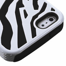 Apple iPhone 5 5S SE Hybrid Zebra Fusion Silicone Case Phone Cover White Black