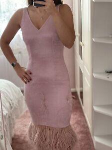 Safiyaa Party Dress Pink V Back And Front Neck Uk 36