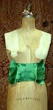 Antique French Emerald Green Silk Satin Ribbon Dress Sash w Bow Excellent