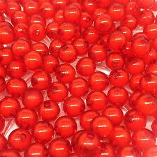 50PZ 8mm rosso Acrilico Perle Rotondo Doppio colore Perline Gioielli