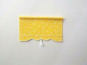 Dollhouse Miniature Handmade Yellow Window Drapes Curtains Valance Shade