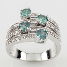 Le Vian 14k White Gold Diamond and Blue Stone Four-Row Ring Size 6.75