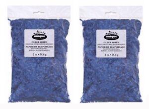 Blue Paper Shred Gift Baskets Bag Filler 2 oz Lot of 2