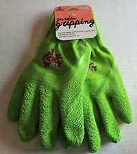LADIES GARDEN GRIPPING GLOVES Green LARGE Rubber Coated Palm for Gripping Power