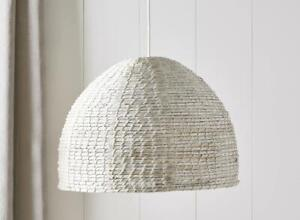 The White Company Mawes Seagrass Ceiling Shade White Natural Caged Design