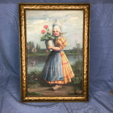 D Hensel Framed Oil Painting On Canvas Dutch Girl Antique Signed Listed