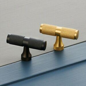 Brass Antique Gold, Gunmetal Grey & Silver Knurled T Bar Cupboard Drawer Handles