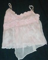 XS Pastel Baby Pink Sequin Lace Sheer Gauz Layer Spaghetti Strap Cami Blouse Top